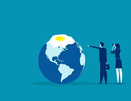 Global warming. Concept business vector illustration, Egg frying , Planet earth, Looking.