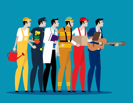 Different professions people. Concept Labor Day. Flat character style, Cartoon vector illustration. Ilustracja