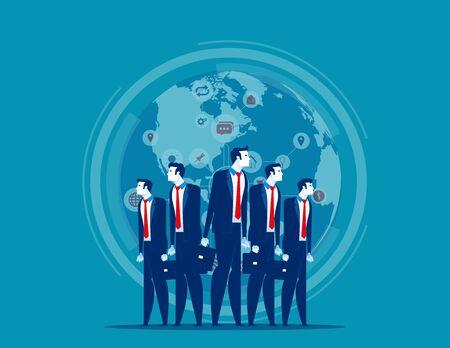 Business globe network. Concept business vector illustration, Finance and industry, Teamwork, Marketing partner. Illusztráció