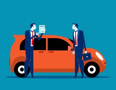 Salesman shows car insurance. Concept business vector illustration, Car, Agreement, Dealer or Agent. Vettoriali