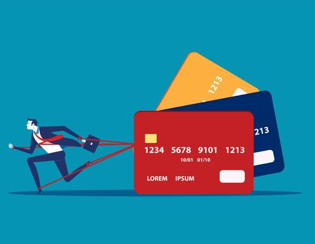 Business man and committed debt with credit card. Concept business vector illustration, Investor, Risk. Illusztráció