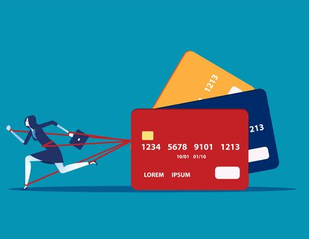Business woman and committed debt with credit card. Concept business vector illustration, Investor, Risk. Ilustração