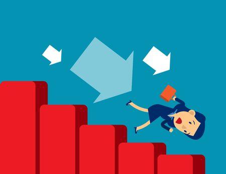 Economic recession. Concept business vector illustration. Financial, Crisis, Risk. Иллюстрация