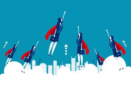 Héroes de negocios volando objetivo. Ilustración de vector de concepto empresarial, exitoso, trabajo en equipo, oficinista. Ilustración de vector