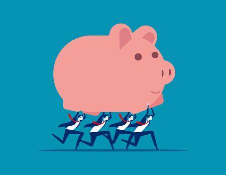 Business team holding piggy bank. Concept business vector illustration, Teamwork, Financial, Saving. Standard-Bild - 134733258