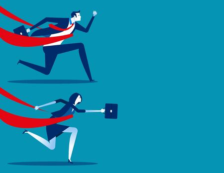 Business man, business woman successful in a finishing line. Concept business vector illustration, Business character set.