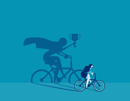 Business person ride a bicycle and the vision with success. Concept business vector illustration, Achievement, Successful.