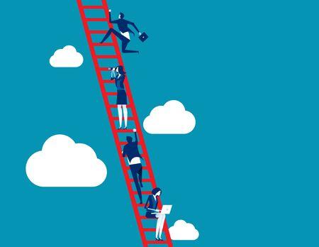 Business process and teamwork. Concept business vector illustration, Ladder, Achievement, Aspirations, Growth.
