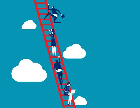 Proceso empresarial y trabajo en equipo. Ilustración de vector de concepto empresarial, escalera, logro, aspiraciones, crecimiento.