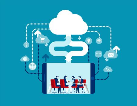 Cloud Computing. Concept business vector illustration, Contact, Online marketing, Globe Communication.