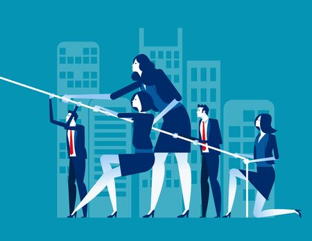Business team pull ropes. Concept business vector illustration, Together, Competition & Challenge. Illustration