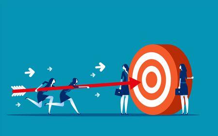 Atteinte des objectifs de l'équipe commerciale. Illustration vectorielle de concept business, Motivation, Support & Partner, Réussi.