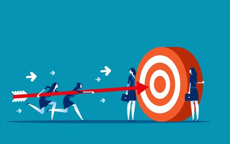 Business team goal achievement. Concept business vector illustration, Motivation, Support & Partner, Successful.