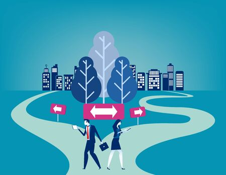 Businesss people with crossroad. Concept business vector illustration, Choice, Direction, Flat business cartoon character style deisgn. Vecteurs