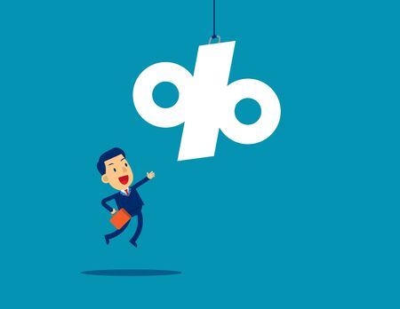 A business man reaching for percentage sign. Concept business success illustration. Vector flat cartoon character style design.