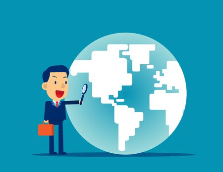 A business man looking globe. Concept business searching vector illustration, Magnifying, Flat cartoon character style design Vector Illustration