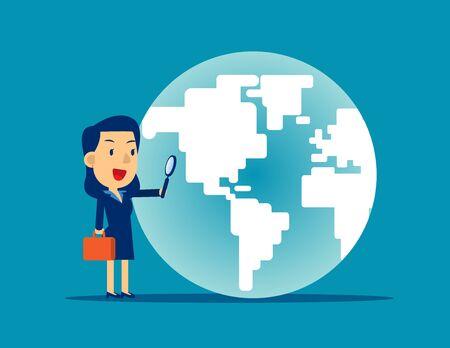 Una mujer de negocios mirando el globo. Ilustración de vector de búsqueda de negocios de concepto, lupa, diseño de estilo de personaje de dibujos animados plana