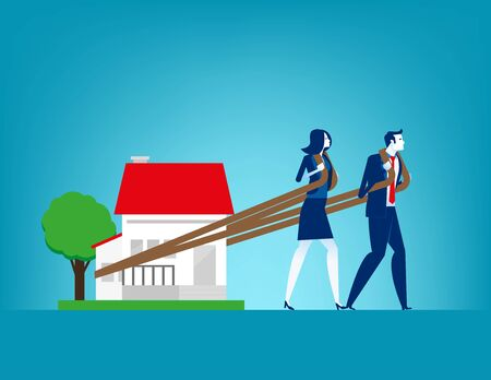 House loan. Concept finance and economy vector illustration, Relocation, Effort, Moving house. Vectores