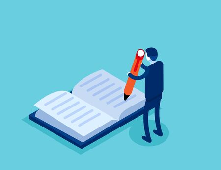 Businessman write in the book. Concept isometric business technology vector illustration, Classroom, Education, Flat isometric cartoon character style design. Ilustracja