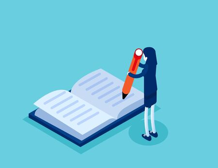 Businesswoman write in the book. Concept isometric business technology vector illustration, Classroom, Education, Flat isometric cartoon character style design.