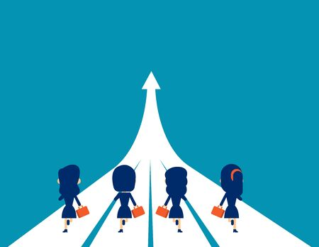 Business team running to success. Concept business successful. Flat cartoon character style design