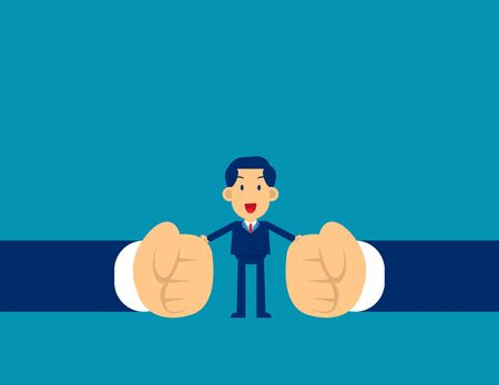 Man stop conflict. Concept business office people vector illustration, Stop Fighting, Kid flat character style design, Cute business cartoon. Ilustracja