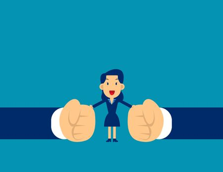 Woman stop conflict. Concept business office people vector illustration, Stop Fighting, Kid flat character style design, Cute business cartoon. Ilustracja