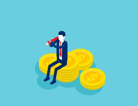 Businessman looking for investment. Concept isometric business investor vector illustration, Successfully, Finance and Economy, Financial. Isometric flat cartoon character style design.