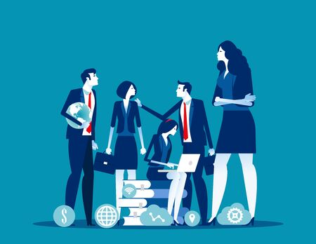 Office team With partnership and support. Concept business vector illustration, Colleague, Group of people.