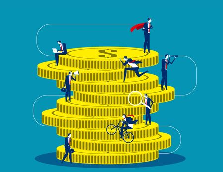 A group of business people climbing a huge pile of gold coins. Concept buisness financial vector illustration, Investment, Investor, Flat business cartoon design
