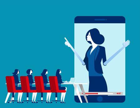 Office people online meeting. Concept business vector illustration, Online seminar, Internet learning. Flat business cartoon design.