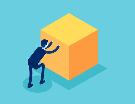 Isometric businessman push cube box. Concept business working isometric vector illustration, Shove, Isometric flat cartoon, character style design