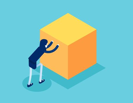 Isometric businesswoman push cube box. Concept business working isometric vector illustration, Shove, Isometric flat cartoon, character style design 일러스트