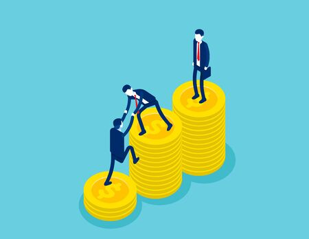 The Success of a good business team. Concept isometric business successful vector illustration, Financial, Finance and economy, Banner & Template, Isometric flat cartoon character style design.
