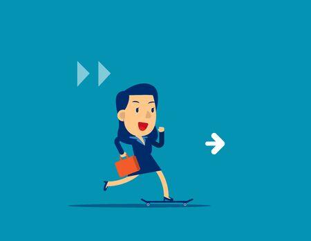Business woman on skateboard. Concept business enjoy working vector illustration, Speed, Motivation, Kid business cartoon character style design.