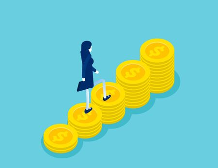Isometric businesswoman walking on money step to success. Concept business isometric vector illustration, Isometric Flat cartoon character style design.