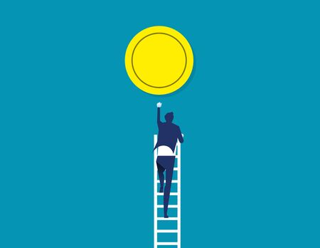 Climbs up to gold coin.Concept business vector illustration, Aspirations, Currency, Goal, Flat business cartoon design.