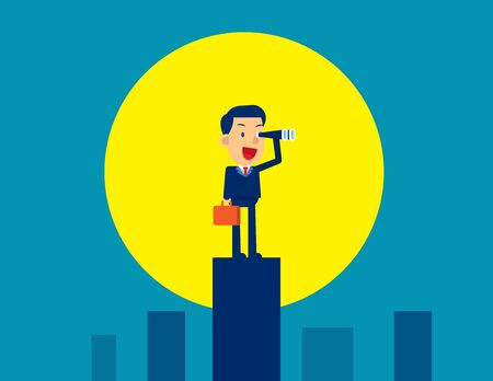Businessman looking and searching. Moonlight illuminates success. Concept business vector illustration, Vision, Leadership, Successful