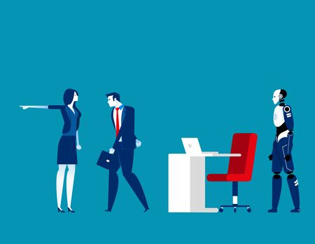 Employee replacement. Concept business vector illustration, Turnover workers, Artificial intelligence
