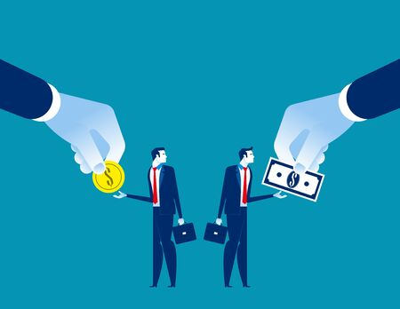 Salary Different for employee. Concept business vecto rillustration, Currency, Coin, Banknote Stock Illustratie