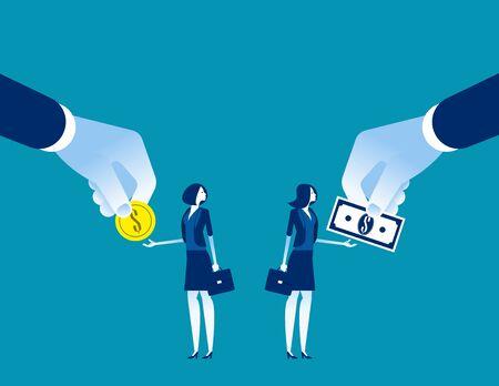 Salaris Voor werknemer verschillend. Concept zakelijke vecto illustration, valuta, munt, bankbiljet
