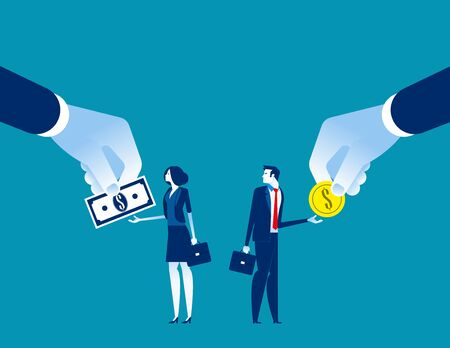 Salary Different for employee. Concept business vecto rillustration, Currency, Coin, Banknote Ilustracja