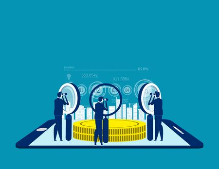 People searching for investment. Concept business vector illustration, Data Research, Information analysis.