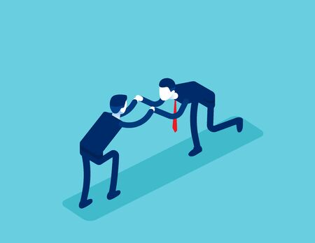 Isometric office workers to fight. Concept business conflict at work vector illustration, Business discord, Isometric  flat cartoon character design. Illustration