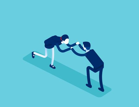 Isometric office workers to fight. Concept business conflict at work vector illustration, Business discord, Isometric  flat cartoon character design. Ilustracja