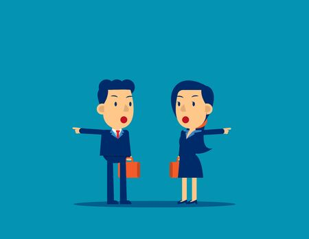 Business people with different directions. Concept business choice vector illustration, Pointing, Challenge, Kid flat cartoon character style design.
