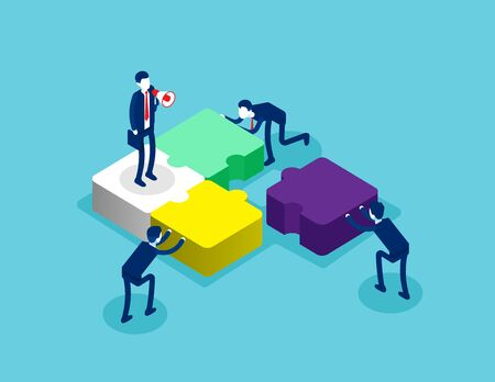 Isometric team connecting puzzle elements. Concept isometric business teamwork vector illustration, Template, Banner, Successful, Isometric flat cartoon, character, style design.