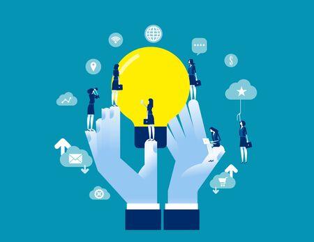 Encourage Creative Idea Sharing. Concept business vector illustration, Brainstorming, Inspiration, Imagination.