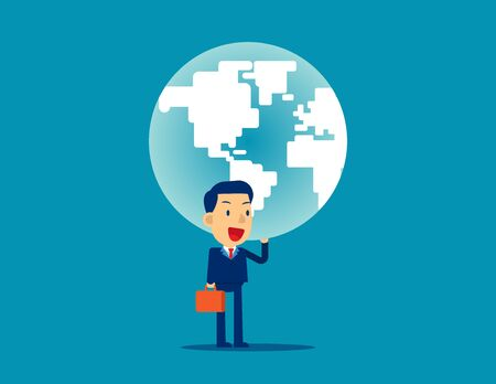 A man is holding up globe. Concept business strength vector illustration, Planet, Power, Successful. Ilustracja