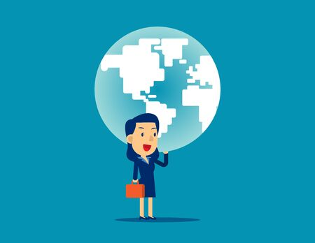 A woman is holding up globe. Concept business strength vector illustration, Planet, Power, Successful.
